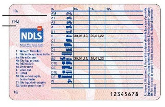 Revers del nou carnet de conduir europeu.