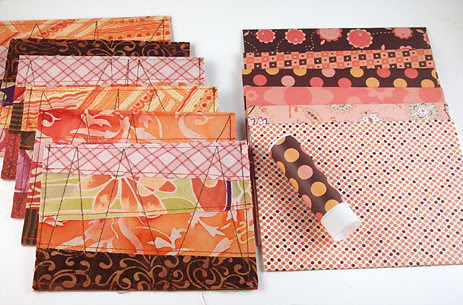 Fabric cards w/ envelopes - browns and oranges