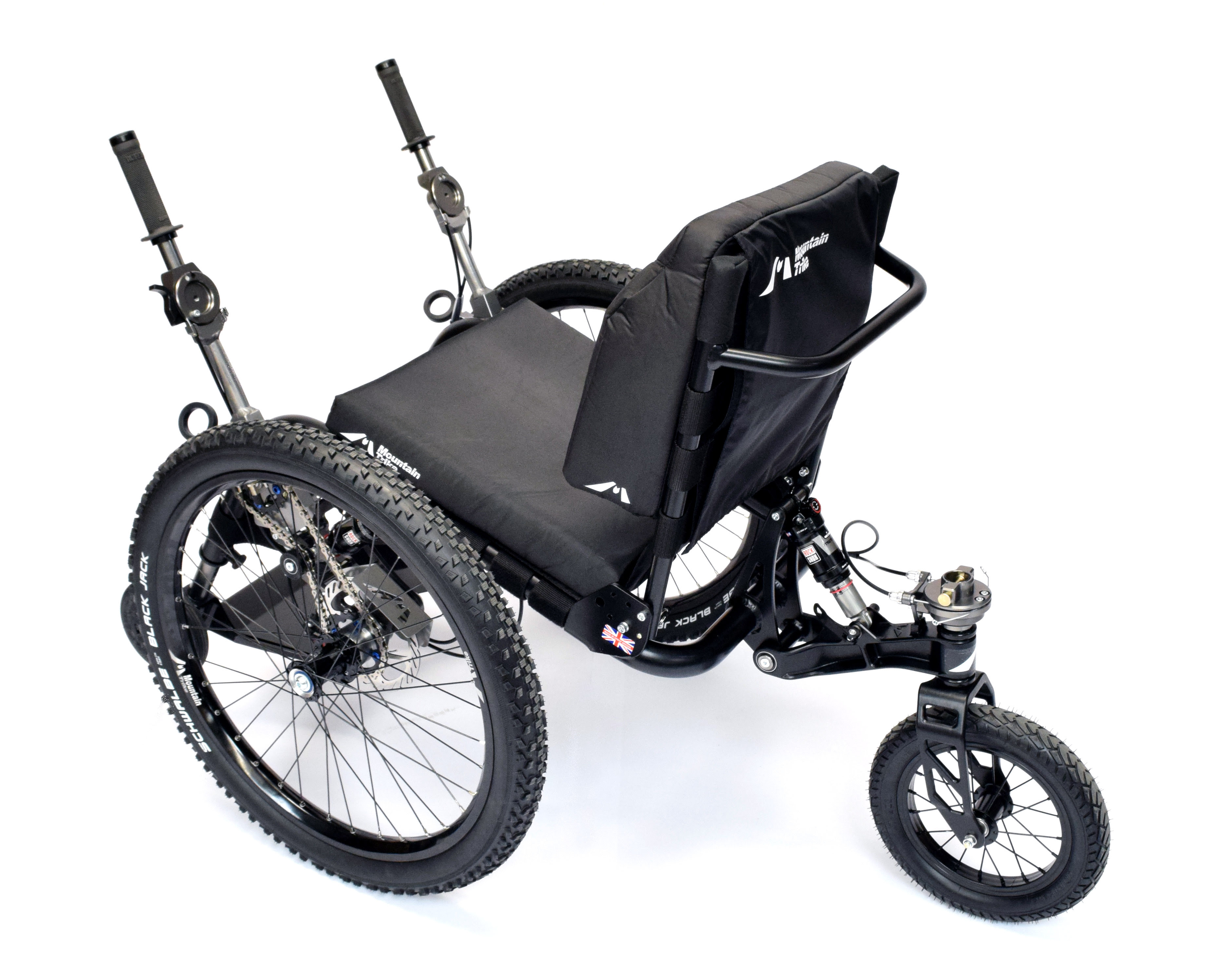A mountain trike off-road wheelchair