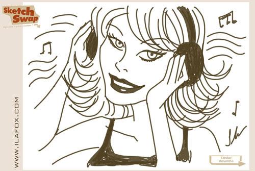 Desenho Sketch Swap, mulher, DJ, by Ila Fox