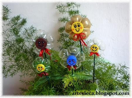 Flores de Garrafa PET bem Coloridas