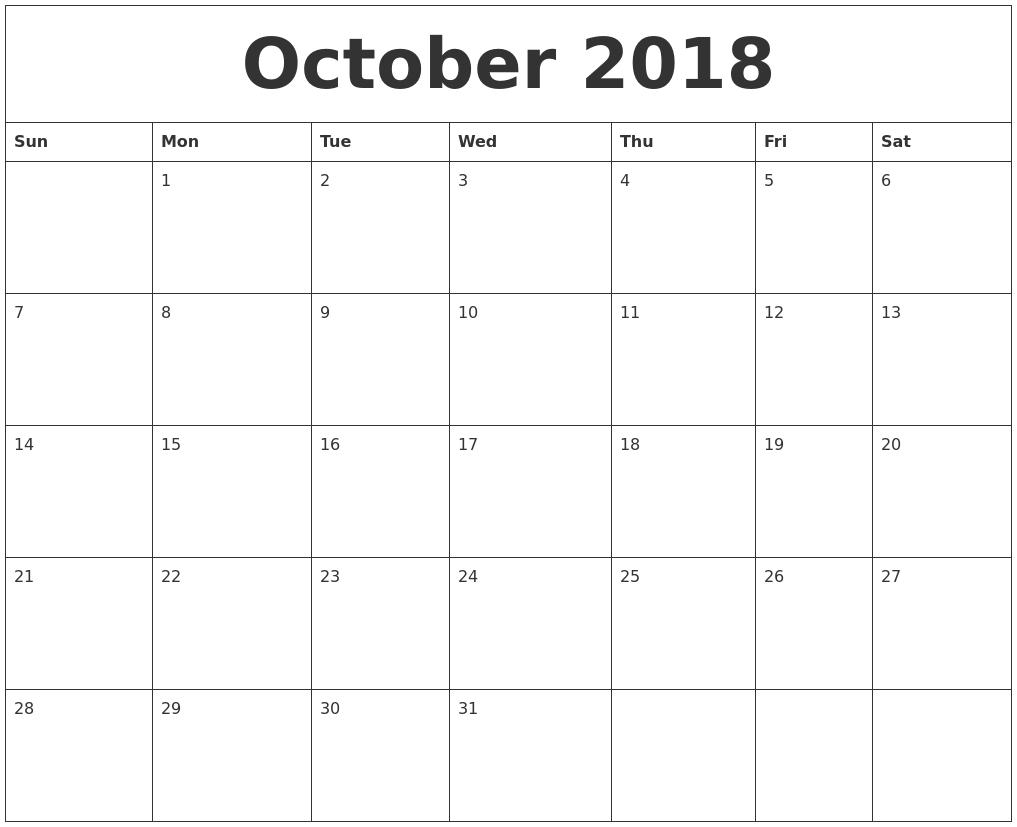 october 2018 printable calendars free
