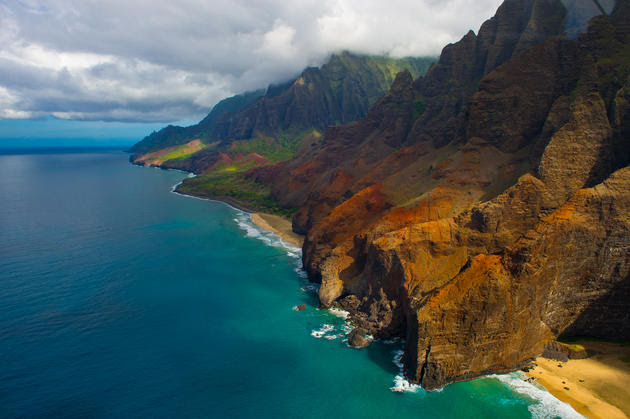 An aerial view of the Na Pali coast.