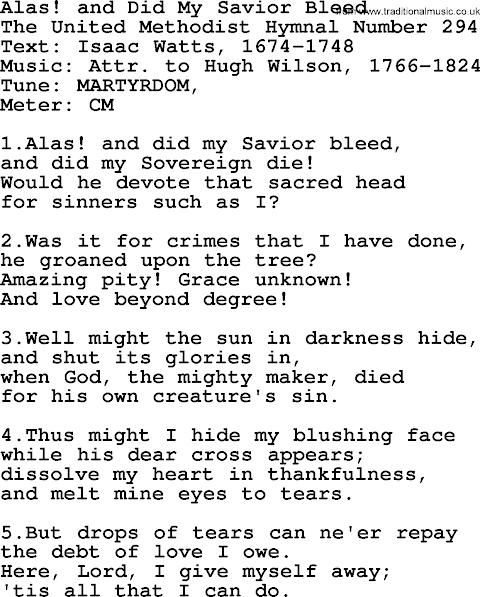 Alas And Did My Savior Bleed Lyrics