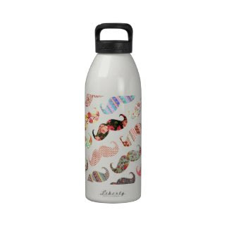 Funny Girly Colorful Patterns Mustaches Drinking Bottles