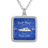 Yacht Club Yeah Buoy Square Pendant Necklace
