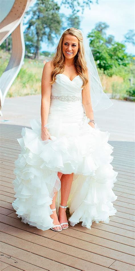 country strapless sweetheart high low wedding dresses with
