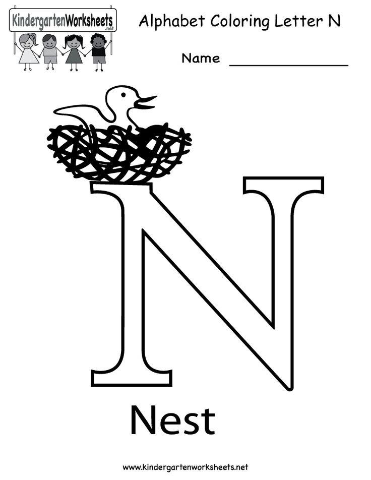 Kindergarten Letter N Coloring Worksheet Printable