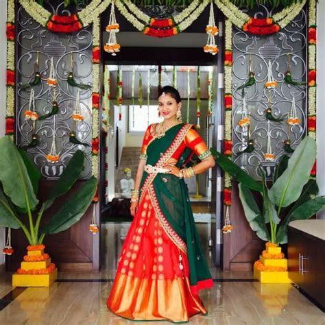 South Indian bride   Dresses in 2019   Half saree designs