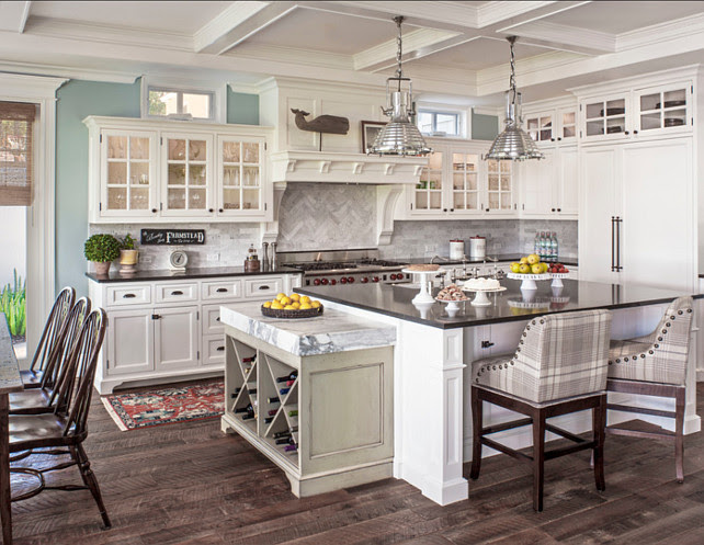 Kitchen Ideas. Great kitchen design ideas. White kitchen cabinet paint color is Benjamin Moore White Dove and wall paint color is Benjamin Moore Yarmouth Blue HC-150. #KitchenIdeas #KitchenPaintColor #BenjaminMoore