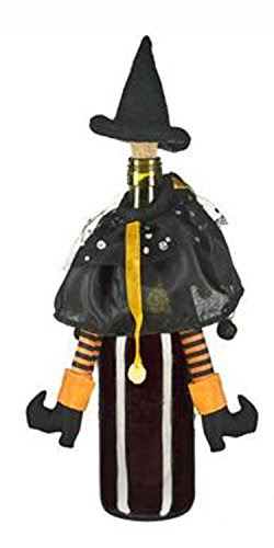 Black & Orange Wicked Witch Halloween Wine Bottle Decoration and Cork by Ganz