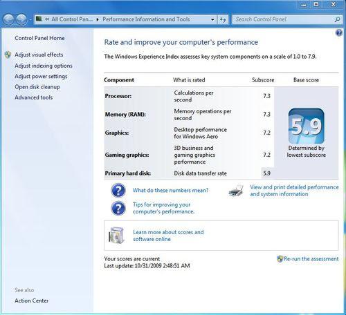 Windows 7 Computer Rate