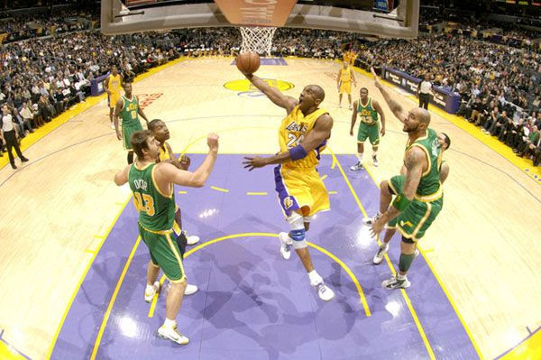 Kobe Bryant drives in for a lay-up against the Utah Jazz...whom the Lakers beat, 101-77, at STAPLES Center on December 9, 2009.