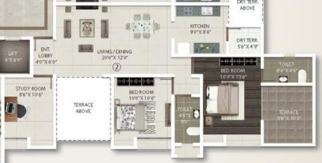 2.5 BHK Flat - 805 sq.ft. Carpet + Terrace - B Building - Even Floors - Gini Viviana, Balewadi, Pune 411 045