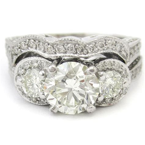 Round Cut Antique Style Three Stone Pave Diamond