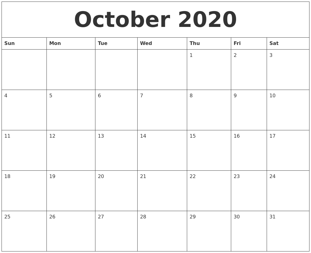 october 2020 blank printable calendars