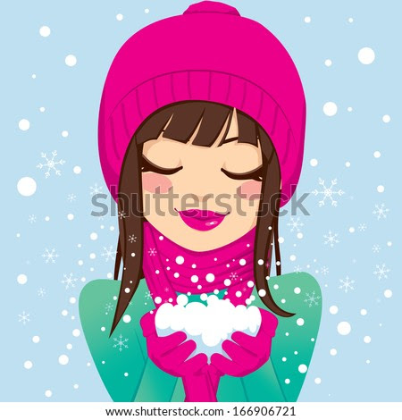 Beautiful brunette woman with eyes closed and smiling in pink winter hat and scarf holding snow with her hands - stock vector