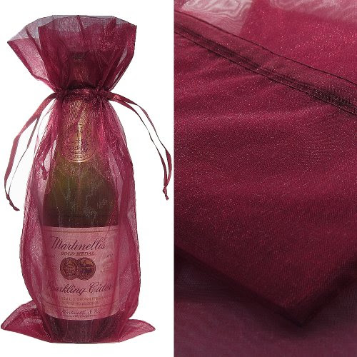 Wine Color Organza Wine Bottle Favor Gift Bags (Set of 10)