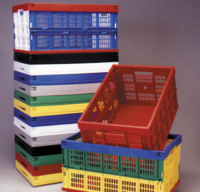 folding crates, many colors