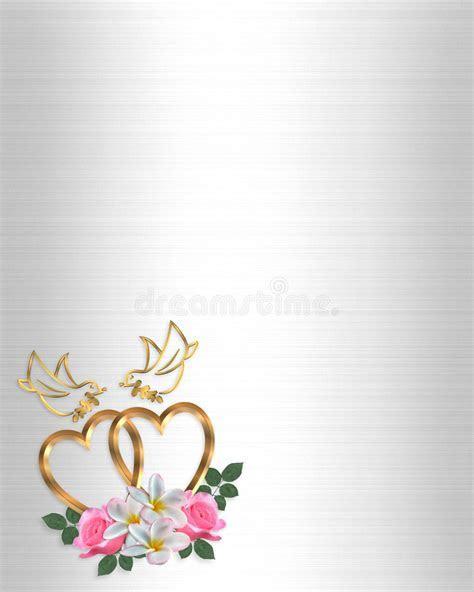 Wedding Invitation Gold Heart And Doves Stock Illustration