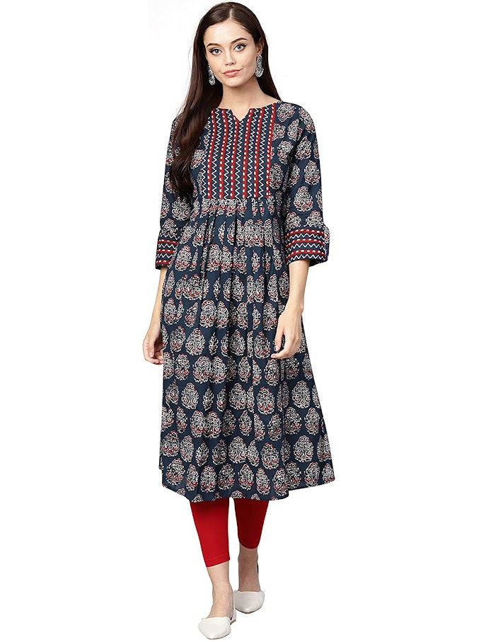 INDO ERA Women's Cotton Anarkali Kurta (Blue)
