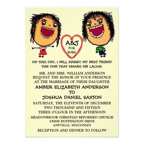 Funny Cartoon Marrying My Best Friend Wedding Invitation