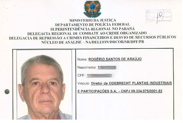 Qualificação do executivo Rogério Araújo, da Odebrecht, nos autos da Lava Jato / Foto: Reprodução