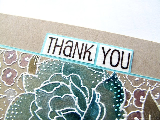 1b SRM thank you sticker cut from circle on watercolour paper and cardstock