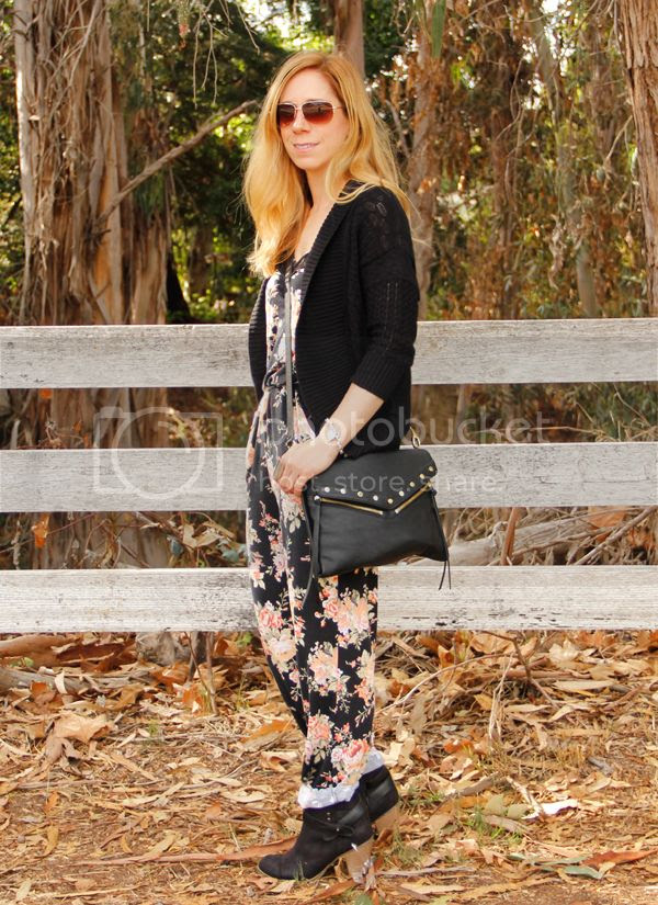 Sears Style floral jumpsuit with Bongo cardigan and Seventeen western ankle boots, #SearsStyleFind