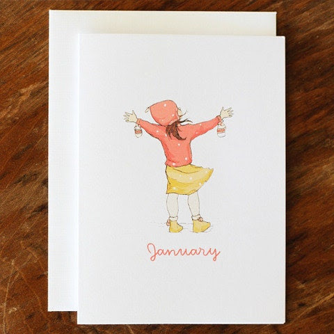 Single Card - January - Greeting or Birthday Card (Blank)