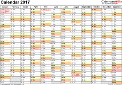 Calendar 2017 (UK) - 16 free printable PDF templates