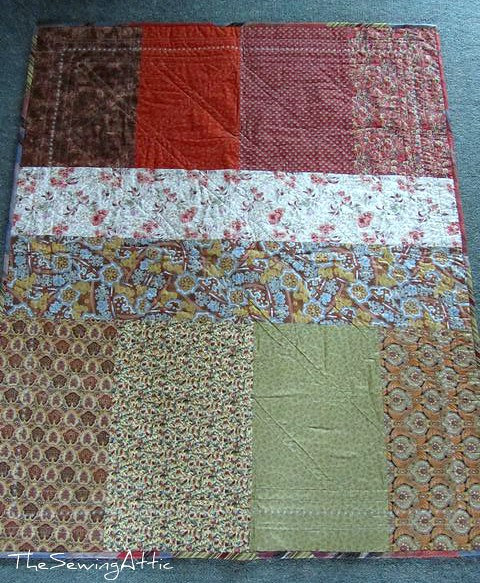 Back of jelly roll quilt