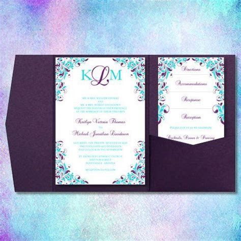 Downloadable purple and turquoise wedding invitation   www