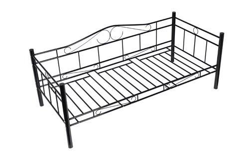 cadres de lit banquette lit m tal style fer forg noir 90 x 200 cm. Black Bedroom Furniture Sets. Home Design Ideas