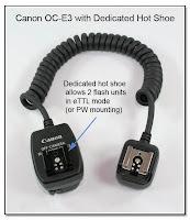 OC1016: Canon OC-E3 with Dedicated Hot Shoe atop Camera End