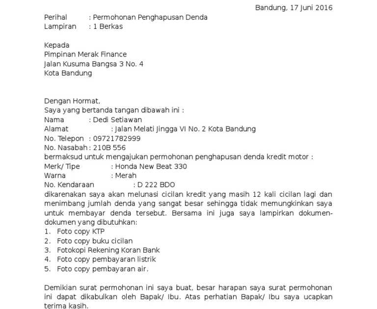 Contoh Surat Permohonan Penghapusan Bunga Dan Denda Bank ...