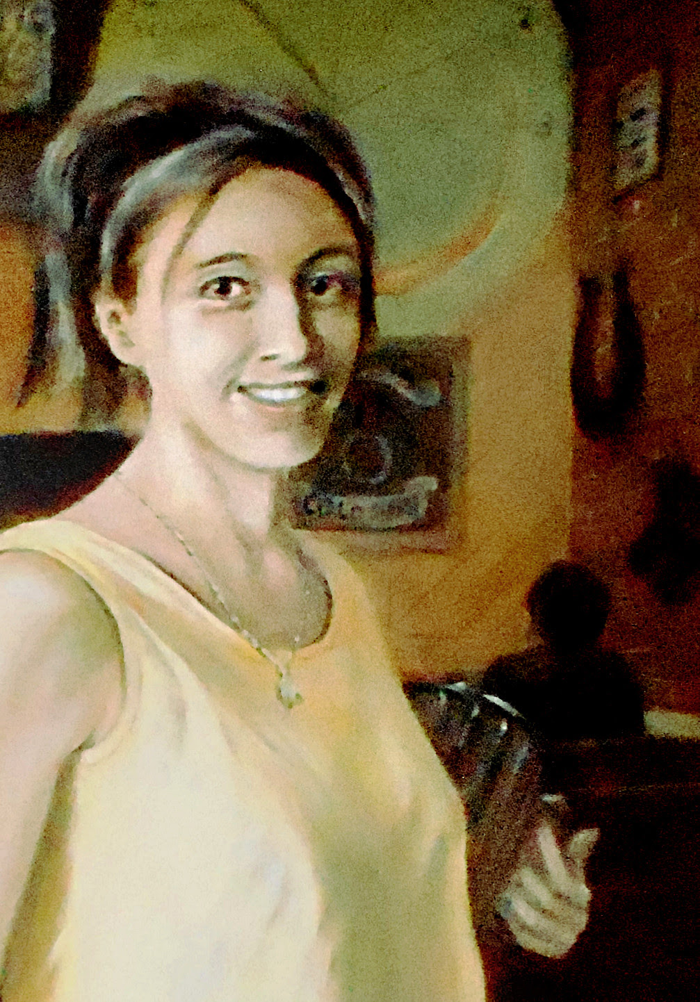 Portrait of Shannon, Young Woman Working in a Bar, $1100, 20x30 inches, classical frame; $20 to $30, medium-size prints, free downloads.  ...Shannon, a favorite bartender, Frederick, Maryland. Multimedia classical traditional modern acrylic oil ‪‎painting‬s. ‬‎GrlFineArt ‪‎art ‪‎fineart ‪‎painting, room decor, ‪‎painting‬s, prints, portraits, figures,  figurative