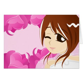 Bride of the Pink Rose:Brunette w/ Brown Eyes Card card