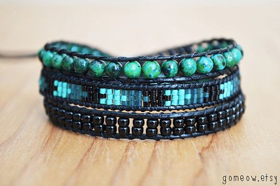 Bohemian Leather Wrap Bracelet // Friendship Bracelet // by Gomeow, $32.50