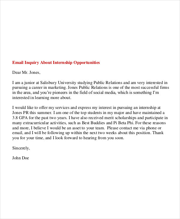 6 Internship Email Examples Samples Pdf Examples