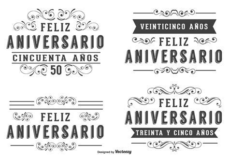 Anniversary Labels In Spanish Language   Download Free
