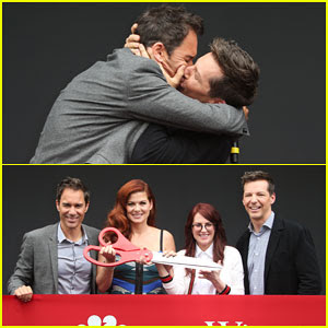 'Will & Grace's Eric McCormack & Sean Hayes Celebrate First Day On Set with Big Kiss!