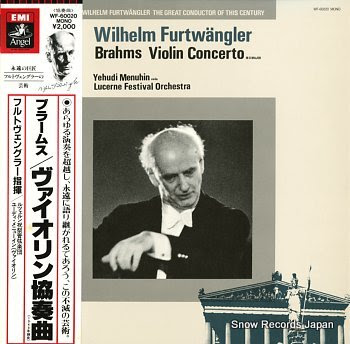 FURTWANGLER, WILHELM brahms; violin concerto in d major