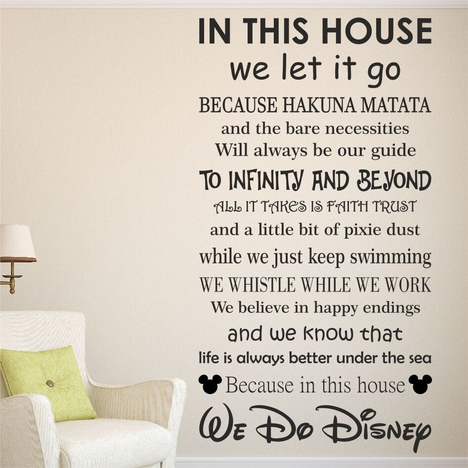 We do DISNEY House rules vinyl wall art sticker quote  kids family  WQB17  eBay