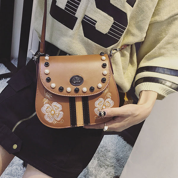 Women Flower Pattern Pearl Decoration Shoulder Bag Crossbody Bags