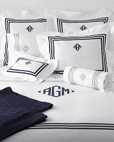 Monogrammed Bed Linens-Luxury Monogrammed Bedding