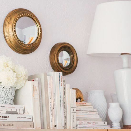 Image Via: Crush Cul de Sac #White:  I love the look of gold as an accent in an all white space.  Classic.