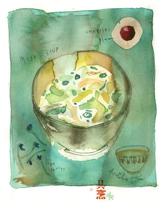 Green miso soup and matcha tea - Original watercolor painting - Art for kitchen - Watercolor food art