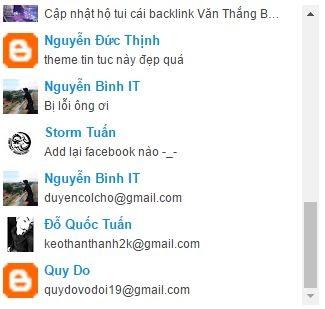 Tạo recent comments widget đẹp cho blogspot