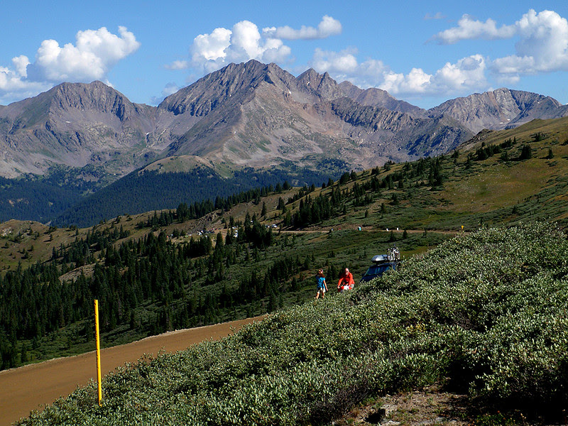 Viewing northwest at the Three Apostles from the summit of Cottonwood Pass.